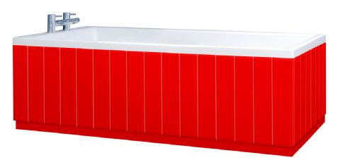 Tongue and Groove Red 2 Piece adjustable Bath Panels